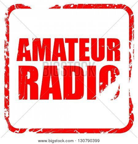 amateur radio, red rubber stamp with grunge edges