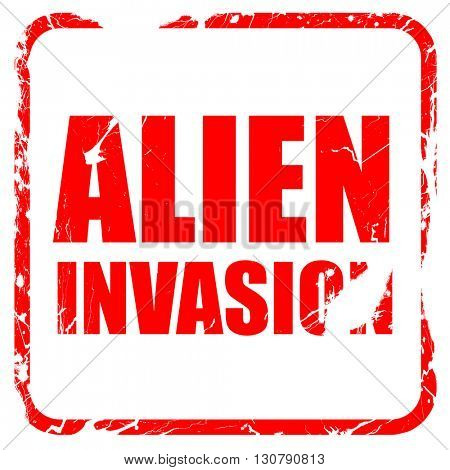alien invasion, red rubber stamp with grunge edges