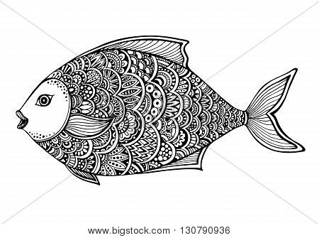 Hand drawn ornate doodle graphic black and white fish. Vector illustration for t-shirts design, tattoo, coloring book and other things