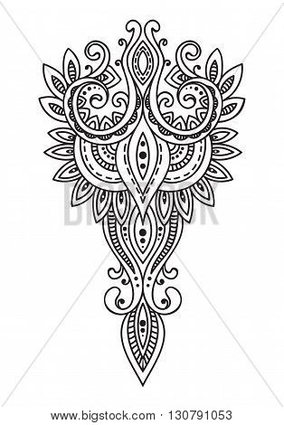 Doodle asian paisley ornament. Amulet with ethnic design. Good luck amulet. Isolated. Outline. Black and white.