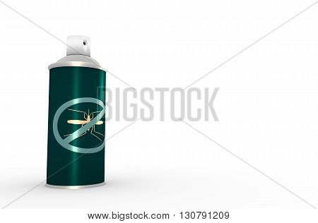 Illustration of anti-mosquito spray without cap over white background. 3D rendering. Metallic painting label. Mosquito spray text.