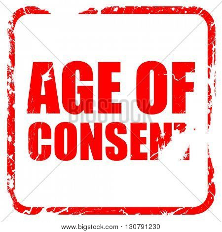 age of consent, red rubber stamp with grunge edges
