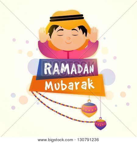Illustration of Muslim Boy offering Namaz (Islamic Prayer) with colourful Lanterns hanging by Ramadan Mubarak banners for Holy Month of Muslim Community Festival Celebration.
