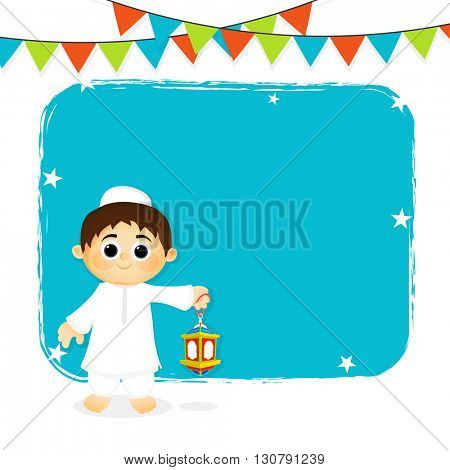 Colourful party flags decorated greeting card with cute Muslim Boy holding Traditional Lantern for  Muslim Community Festivals Celebration.