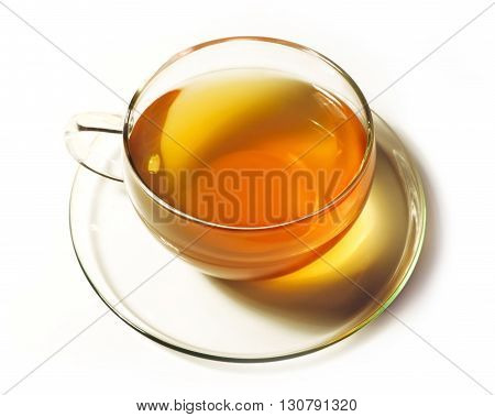 Tea cup, isolated on white background. High angle view.