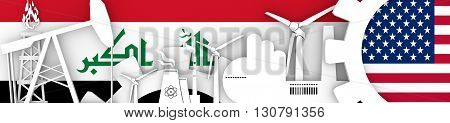 Energy and Power icons set. Header banner with Iraq and USA flags. Sustainable energy generation and heavy industry. 3D rendering