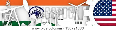 Energy and Power icons set. Header banner with India and USA flags. Sustainable energy generation and heavy industry. 3D rendering