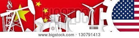 Energy and Power icons set. Header banner with China and USA flags. Sustainable energy generation and heavy industry. 3D rendering