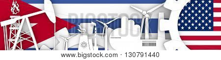 Energy and Power icons set. Header banner with Cuba and USA flags. Sustainable energy generation and heavy industry. 3D rendering