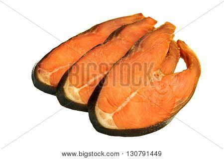 Slices Of Cold Smoked Pink Salmon Isolated On White Background