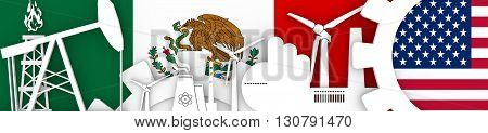 Energy and Power icons set. Header banner with Mexico and USA flags. Sustainable energy generation and heavy industry. 3D rendering