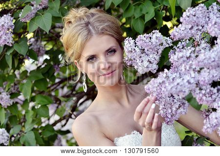 Beauty bride in bridal gown with lace veil on the nature. Beautiful model girl in a white wedding dress. Female portrait in the park. Woman with hairstyle. Cute lady outdoors