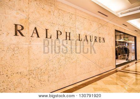 Kuala Lumpur, Malaysia, May 20, 2016:  Ralph Lauren Signage On Their Outlet At Klcc, Kuala Lumpur.