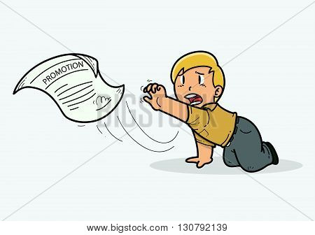 Illustration of promotion slip away from worker