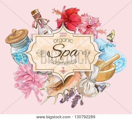 Spa treatment banner with lotus, shells and hibiscus flowers. Design for cosmetics, store, spa and beauty salon, organic health care products.  Vector illustration.