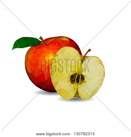 an apple in a cut in polygonal graphics