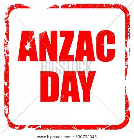 anzac day, red rubber stamp with grunge edges