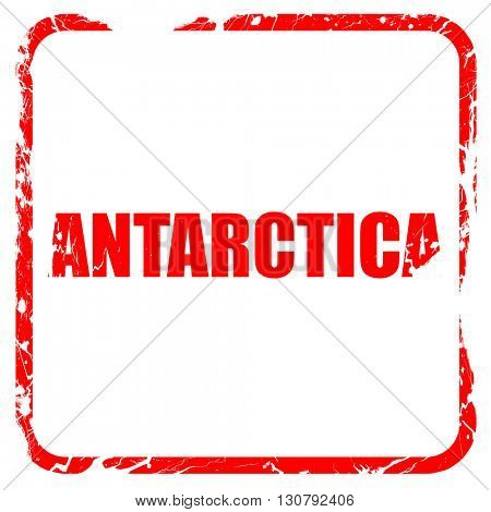 antarctica, red rubber stamp with grunge edges