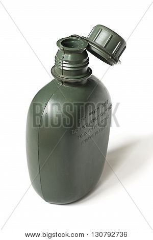 Army plastic canteen on a white background.