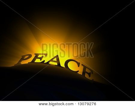 Glowing text read peace
