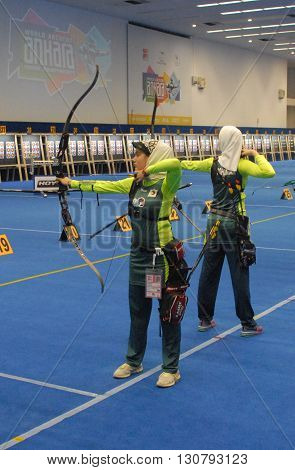 ANKARA/TURKEY-MARCH 1 2016: Female members of Iran's national archers' team at the ATO Congresium Hall of The 2016 World Archery Indoor Championships. March 1, 2016-Ankara/Turkey