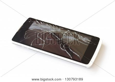 Smartphone with a broken on  white background