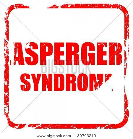 Asperger syndrome background, red rubber stamp with grunge edges