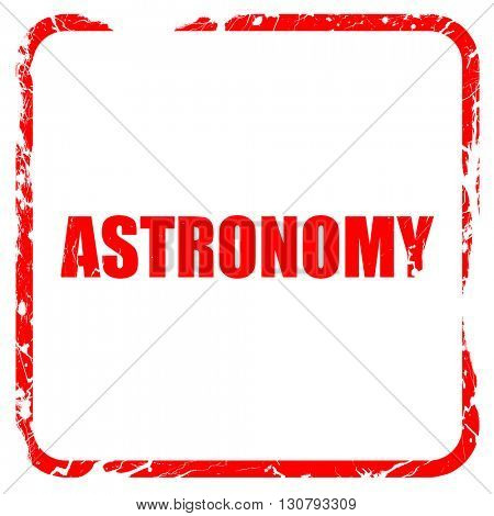 astronomy, red rubber stamp with grunge edges
