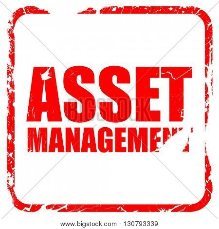 asset management, red rubber stamp with grunge edges