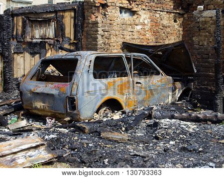 MURMANSK, Russia - May 16, 2013, Burned garage and car, Murmansk