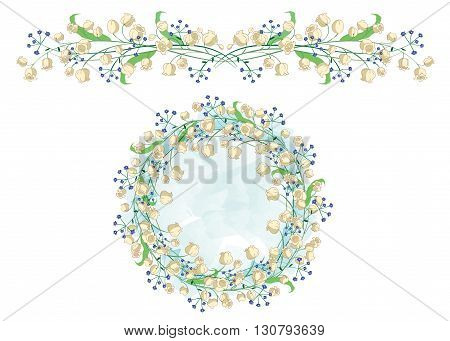 Circular pattern and border with Lily of the valley. Perfectly suitable for the decoration of greeting cards and wedding design