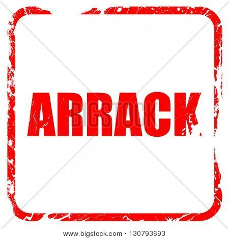 arrack, red rubber stamp with grunge edges