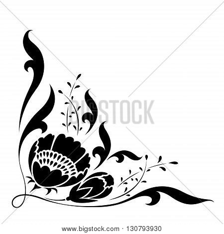 clip art black flower on white background