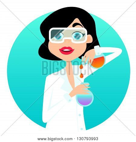 Woman scientist in a white lab coat holding test tubes. Vector illustration
