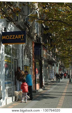 BELGRADE/SERBIA-OCTOBER 24, 2015: Mozzart Bet office at the main boulevard of Belgrade.October 24, 2015-Belgrade/Serbia