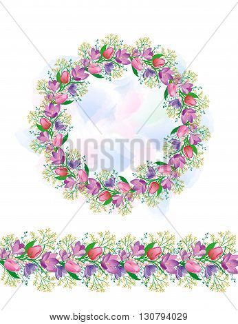 Circular pattern with tulips and snowdrops. The pattern of a border of spring flowers. Beautiful design for the cards and wedding design