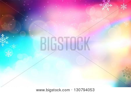 Brightly colored abstract with circles and snowflakes