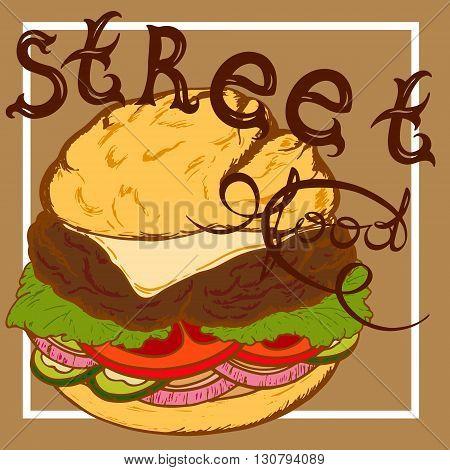inscription street food a burger in a retro style cheeseburger
