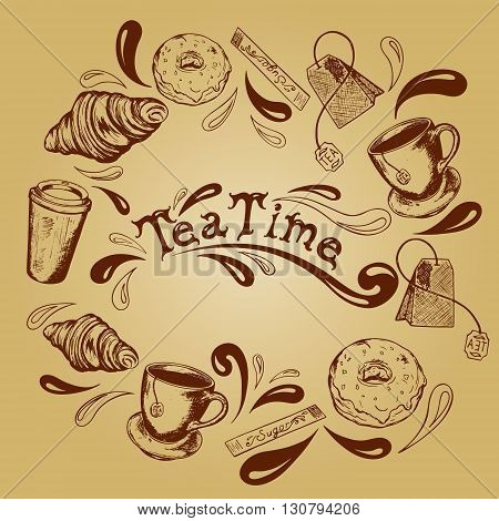 inscription tea time in the center of the frame of the tea cups tea bags donuts croissants sugar stick and splashing in retro style