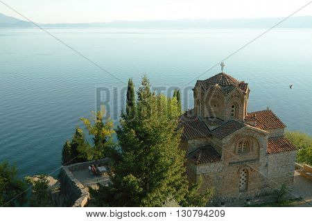 Macedonia Ohrid/Ochrid Saint Jovan Kaneo Temple at sunset