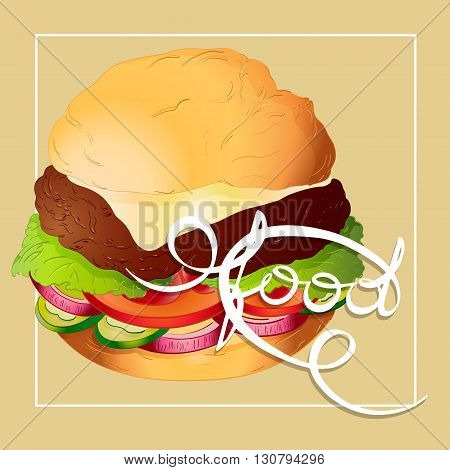 cheeseburger cheese bun with lettuce onion tomato cucumber and chop