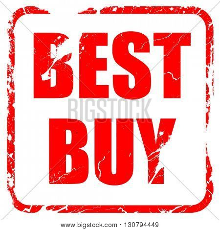 best buy sign, red rubber stamp with grunge edges