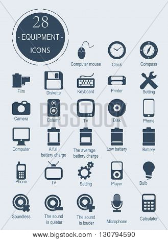 Icons with electronic devices. Vector equipment. Flat