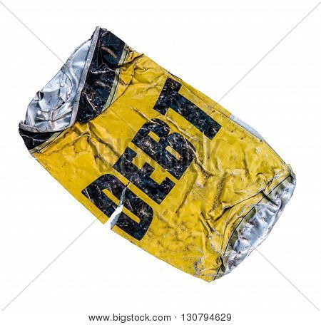 Isolated Yellow Crushed Can With Word Debt On White Background