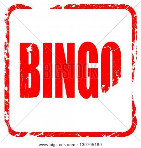 bingo, red rubber stamp with grunge edges