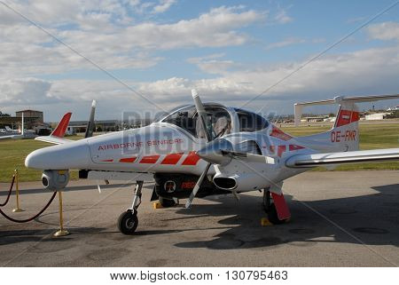 ANKARA/TURKEY-OCTOBER 11, 2008:  Diamond DA42-VI twin engine aircraft with Airborne Sensors at the Turkish Air Association-THK Etimesgut Airport during the airfest. October 11, 2008-Ankara/Turkey