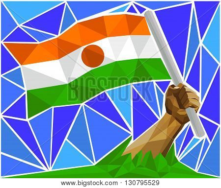 Arm Raising The National Flag Of Niger
