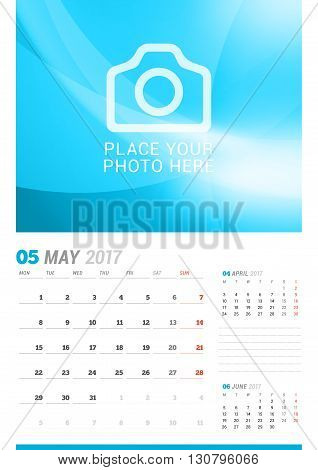 May 2017. Wall Monthly Calendar For 2017 Year. Vector Design Print Template With Place For Photo. We