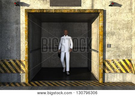 one young black man in a white suit, steps out of the Elevator. Man holding folder with documents. 3D rendering, 3D illustration