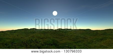 kind of not a big green plain with hills. Sunset or sunrise. 3D rendering, 3D illustration